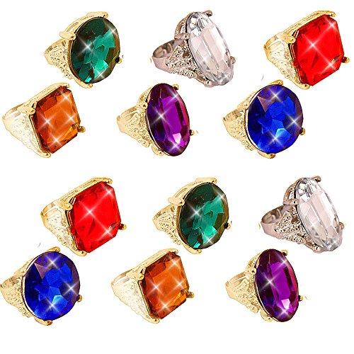 Diamant Ringe Kostüm - German Trendseller® - 8 x Juwelen Ringe ┃ Edelstein ┃ Princessin ┃ Cinderella ┃ Mitgebsel ┃ 8 Zauberhafte Glitzer Ringe┃ Größenverstellbar