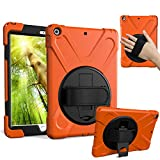 SOUNDMAE iPad Mini 4 Case, 3 Layers Hybrid Heavy Duty Silicone + Hard Plastic Protective Case with 360 Degree Swivel Stand and Hand Strap Cover for Apple iPad Mini 4, Orange