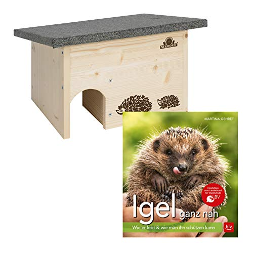 Neudorff Igelhaus Set Igelhaus Bausatz aus Holz + DAS BLV Igelbuch