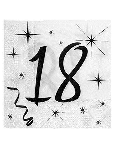 Servietten 18. Geburtstag schwarz/weiß 20 Stück