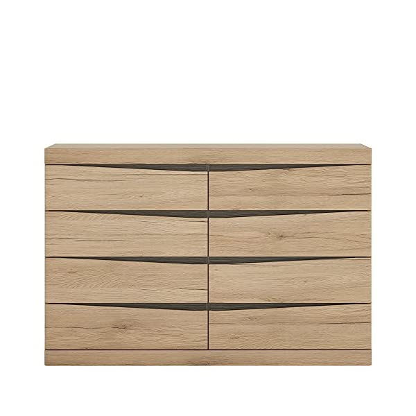 Furniture To Go 4 + 4 Wide Chest of Drawers, Oak, 125.7x39.9x83.8 cm Furniture To Go Laminated board (resistant to damage and scratches, moisture and high temperature) Oak finish with the contrasting dark trim Characteristic milled handles 1