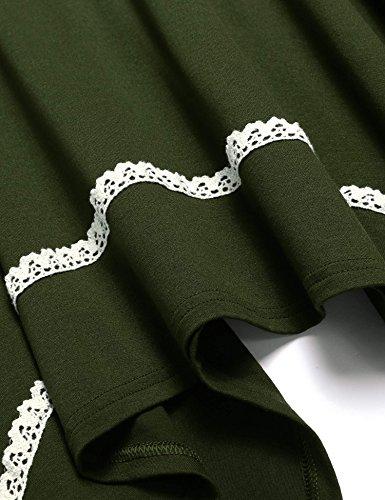 ZEARO Strickkleider Damen Kleid O-Ausschnitt Langarm Freizwitkleid Spitze Lose Armee-Grün