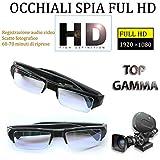 Telecamera Spia Occhiali Full HD Microcamera Nascosta Videocamera Occhiali Portatili con Sacchetto di Trasporto Nero per Fotografia Sportiva per Esterni DVR Pinhole Occhiali 1080P