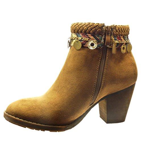 Angkorly - Scarpe Moda Stivaletti Scarponcini low boots donna catena metallico fibbia Tacco a blocco alto 7.5 CM Cammello