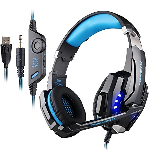 PUNICOK G9000 PS4 Gaming Headset Kopfhörer mit Mikrofon 3.5mm On Ear Surround Sound Ohrhörer und Lautstärkeregelung für PS4 Xbox One PC Laptop Tablet Mobile Phones Blau ... Gaming-headset