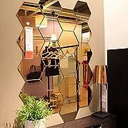 Xufloren Creative DIY Wall Sticker,12Pcs Mirror Hexagon Removable Acrylic Wall Stickers Art DIY Home Decor Dec
