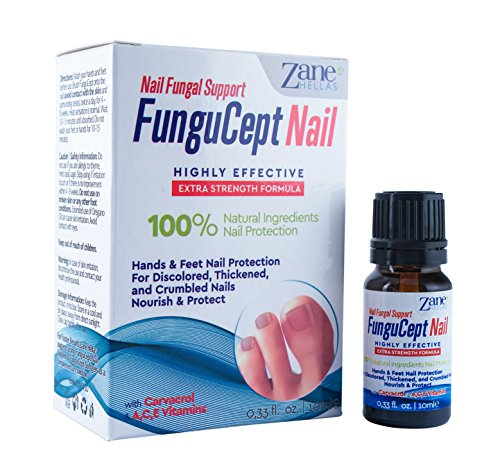 Zane Hellas FunguCept Nail Fungal Support. Natural Nail Protection for Discoloured, Thickened, and Crumbled Nails. Toenail and Fingernail Restorer. 0.33 oz. – 10 ml. with Oil of Oregano.