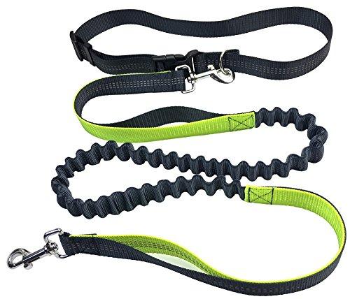 Pugga elastische und flexible Jogging Hundeleine, haltbarer Doppel Dual Griff Bungee Gummi Leine, reflektierend, 1,2 m bis zu 2m dehnbar, verstellbarer Hüftgurt aus reißfestem Nylon  bis max. 45 kg