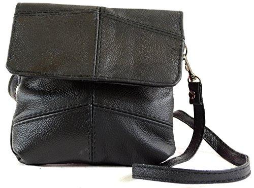 Da donna in pelle con comoda tracolla/borsa a tracolla/borsa con tracolla staccabile (nero, marrone, marrone chiaro) Nero (nero)