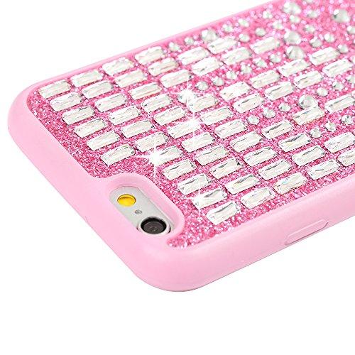 iPhone 6 Plus Hülle Case, iPhone 6S Plus Tasche YOKIRIN Weich Rosa TPU Silikon Schutzhülle Handytasche 3D Crystal Diamant Glitzer Haut Silikonhülle Backcover Handyhülle Rückschale mit Feder Kapazitive Rosa