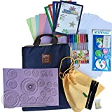 MC CHENMEI Spirograph Set With 10 Colors Ballpoint Pen,Packaging Canvas Bag - Classic Spiral Gear Art Set Spirograph Deluxe Set For Kids (Blue Tote Bag)
