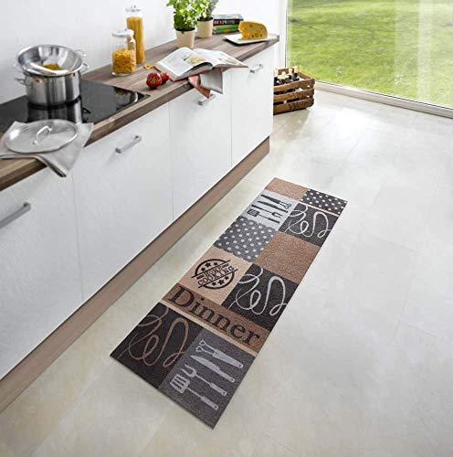 Waschbarer Küchenläufer Dinner Grau Braun 50x150 cm | 102450