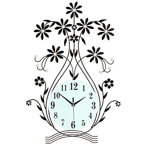 GYNMR Kreative Uhr europäischen Stil ländlichen Moderne Kreative Einfache Vase Wanduhr stumm Dekoration Geschenk Geben Studie Schlafzimmer Wohnzimmer Buchhandlung Kinderzimmer 20 Zoll Polaris Vasen