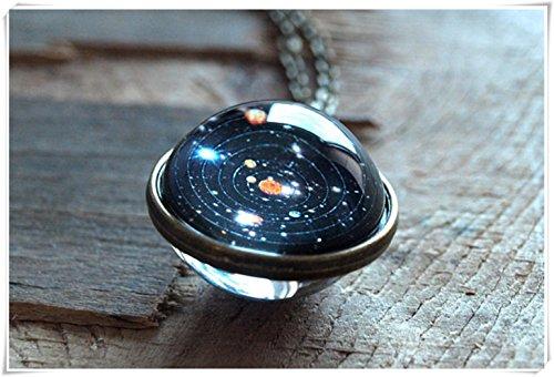 Planet Halskette (Solar System Anhänger, Planet Halskette, Galaxy Halskette Schmuck, Stars, zwei-seitige Halskette, Pure handgefertigt)