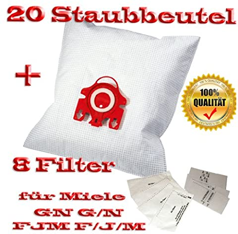 20 fürMiele Staubbeutel Typ FJM F/J/M GN G/N + 8 Filter - Inhalt je Faltschachtel: 4 x 5 Staubbeutel + 4 x 1 Super Air Clean-Filter + 4 x 1 Motorschutzfilter - Staubbeutel GN FJM HyClean (Farbe: blau) Geeignet für: S 4xx, S 6xx, S 8xx, S 2xxx, S 5xxx , S 6xxx Staubbeutel Auch geeignet für:ALLERGY CONTROL , ALLERVAC SENSOR, AUTOMATIC TT 5000, BABY CARE, BIG CAT & DOG, BLUE MOON, BRILLANT 6600, CAT & DOG,