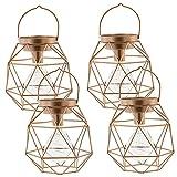 [en.casa]® Dekoleuchte im 4er-Set - 17x17x17 cm - in Kupferfarben aus Metall Dekolampe Hängelampe Tischlampe