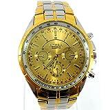 Wristwatch Herren Uhr Analog Quarzwerk mit Zweifarbiger Stahl Armband Business Classic Minimalist Gold