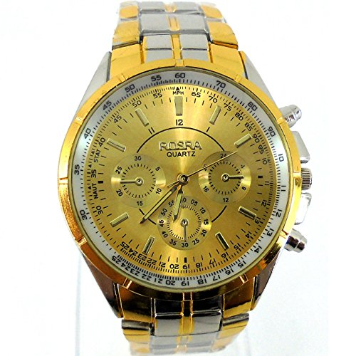Business Herren 's Classic Minimalist Fashion Fake Drei Stahl Quarz watch-gold