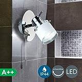 5W LED Lámpara de pared para baño con interruptor de cordón, IP44, Foco LED con bombilla GU10, Color de la luz blanco cálido 3000K, Cromado con vidrio satinado, 230 V
