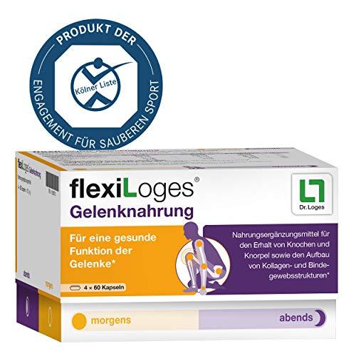 flexiLoges Gelenknahrung Nährstoffkonzept bei Gelenkverschleiß - 240 Kapseln, Nahrungsergänzung auf Basis von Glucosamin und Kollagen