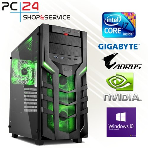 PC24 GAMING PC | INTEL i7-8700K @6x4,50GHz | 250GB M.2 970 EVO SSD | nVidia GF RTX 2070 mit 8GB RAM | 16GB DDR4 PC2666 RAM | Gigabyte Z390 Aorus Pro | 600Watt 80+ ATX Netzteil | Windows 10 Pro | i7 Gamer PC (Black Gtx Titan)