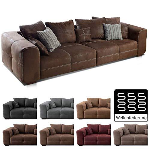 Cavadore Big Sofa Mavericco / Große Polster Couch mit Mikrofaser-Bezug in antiker Lederoptik / Inklusive Rückenkissen und Zierkissen in braun / Maße: 287 x 69 x 108 cm (BxHxT) / Farbe: Antik Braun