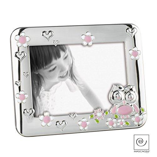 Mascagni A226 Fotorahmen für auf den Tisch, für Kinder, Eulenmotiv, aus Metall, glänzend Silber, verschiedene Farben rosa