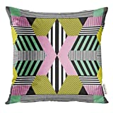 Ntpclsuits Throw Pillow Cover Colorful Geometric in Retro Bauhaus Style Memphis Decorative Pillow Case Home Decor Square 18x18 Inches Pillowcase