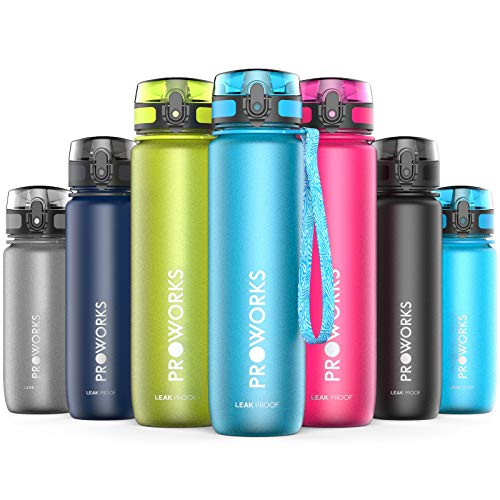 Proworks bottiglia acqua a prova di perdita   pallone sport scorrimento ideale per corsa, ciclismo & escursionismo   bottiglia per bibite in plastica tritan senza bpa - 0,5 litri (18 once) - azzurro