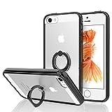 JETech Cover per iPhone SE iPhone 5s iPhone 5, Trasparente Custodia con Supporto Dell'anello, Nero