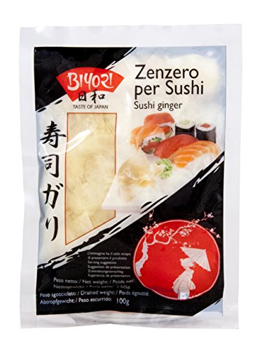 """Jengibre en salmuera para sushi, llamado """"Sushi Ginger Gari"""". Estas son rodajas finas de raíz de jengibre, tomadas de una planta joven (debido a la pulpa más suave y más dulce), marinado en vinagre y azúcar. Se usa tradicionalmente entre una variedad..."""