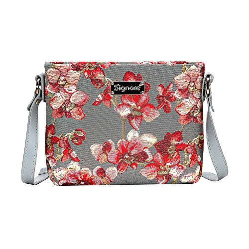 Modische Tapisserie Damen Schultertasche, Bodybag oder Messengertasche in Signare Blumen (Orchidee)