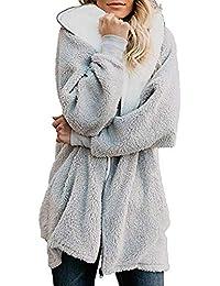 Logobeing Chaqueta Suéter Abrigo Jersey Mujer Invierno Tallas Grandes Cardigan Moda Mujer Tops Abrigo Esponjoso con Capucha y Cremallera Outwear con Bolsillo