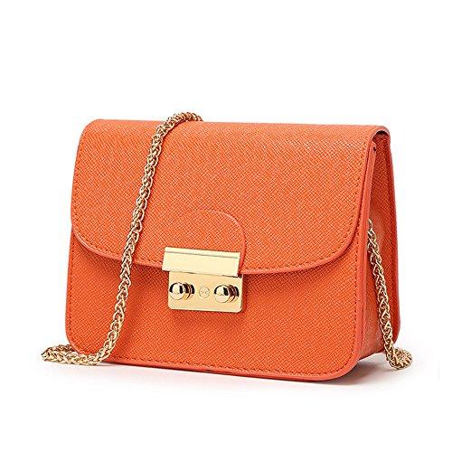he Kleine Damen Umhängetasche Citytasche Schultertasche Handtasche Elegant Retro Vintage Tasche Kette Band -Orange ()