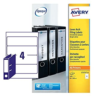 Avery L7171-25 Self-Adhesive Lever Arch File Labels, 4 Labels Per A4 Sheet