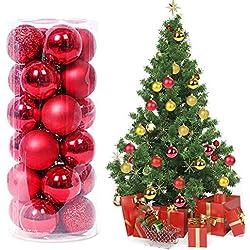 2c55a6baab9 Magicfun 24 Piezas Bolas de Navidad Adornos de Bola de Navidad  Inastillables Brillante árbol de Navidad