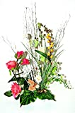tatjana-land-deko Kunstblumen Topf Arrangement Kunstblumengesteck künstliche Blumendekoration K10 (Rosa)