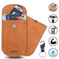 LCNC Car Key Signal Blocker Pouch Case 1 Pack, Genuine Leather Faraday Bag for Anti theft Car Keys Safe Signal Blocking Bag, Keyless Entry RFID Key Fob Security Box Protector Car Accessories