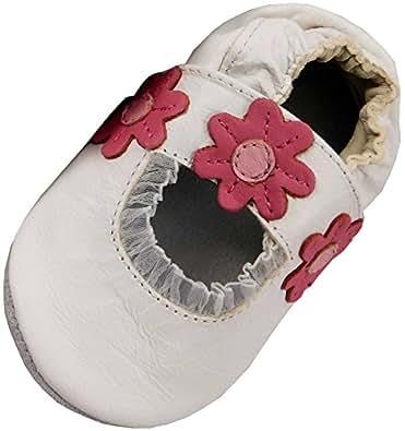 MiniFeet Chaussures bébé en cuir souple, Sandale Sandale Blanc, 0-6 mois