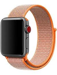 Mira la banda,Aplicable manzana watch1/2/3 Apple deportes correa de lazo de nylon iwatch nylon correa de velcro,Nueva luz de moda pulsera correa de reloj correa de reloj (Naranja)