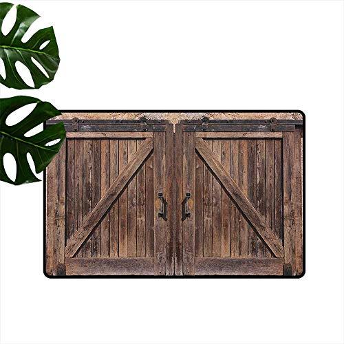RenteriaDecor Teppich, rustikal, maschinenwaschbar, klein, spanischer Stil, dunkel gebeiztes Holz, Tür geheime Garten, mit Gitterfenster, Fußmatte für Kinderzimmer 16