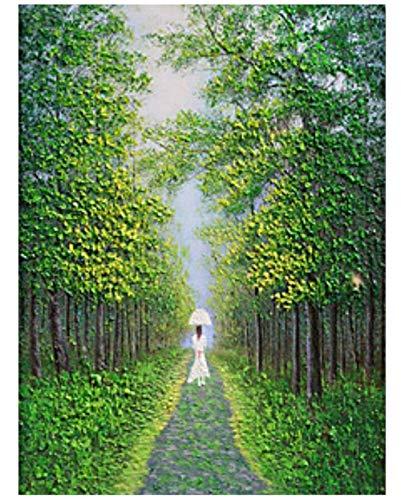 HNZZLC Ölgemälde Leinwand DIY Kinder Erwachsene Digitale Malerei Romantik Geschenk Kunstwerk Set Eintrag Handwerk Dekorationen Grünen Wald Mädchen Im Weißen Kleid 40X50 cm -