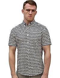 Allegra K Hommes Impression Zigzag Boutons Au Collet Shirt Manches Courtes