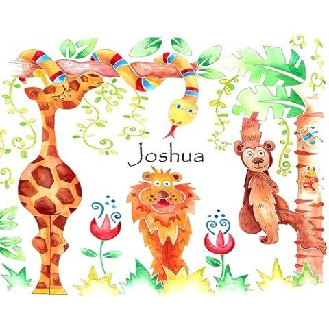 Mesa infantil alfombrilla, selva mantel individual, salvamanteles de personalizada, Animal tabla Mat.