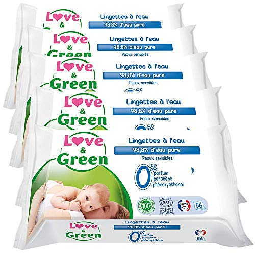 Love & Green - Lingette Sensitive 56 Pièces - Lot de 5