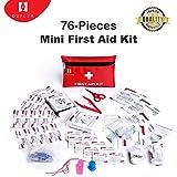 Mini-Erste-Hilfe-Kit, 76 Stück Mini Kleine Erste-Hilfe-Kit enthält Notfall Folie Decke, CPR Gesichtsmaske, Sicherheitspfeife für Zuhause, Fahrzeug, Reisen, Büro, Arbeitsplatz, Kinderbetreuung, Wandern, Überleben und Outdoor