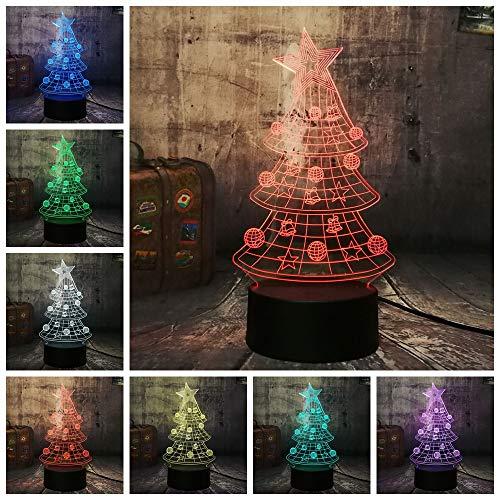 Multicolor New Star Albero di Natale 3D LED Night Light Decorazione della casa Sleep Lamp 7 Color Happy New Year Gift Kid Baby Present