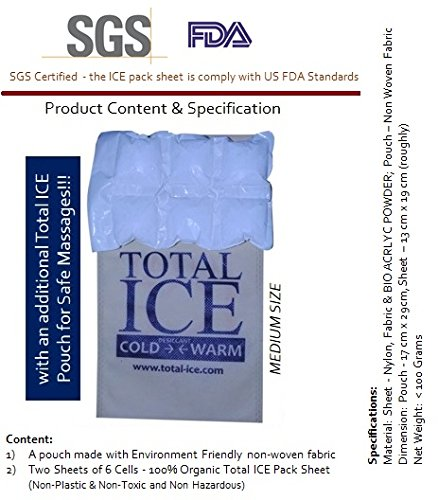 Total-Ice Organic Hot and Cold Ice Gel Pack - Medium Size - Pain Relief Massage Therapy (Plastic Free)  available at amazon for Rs.399