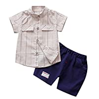 LANSKIRT Kid Boys Set Clothes for 1-3 Years Old, ✿Children Infant Plaid Print Blouse Tops Pants Formal Party Short Sleeve Outfit Sets Summer Cool Clothing Sets Coverall Khaki