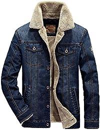 Rinalay Uomo Autunno Spesso Inverno Formale Caldo Jeans Cotone Casuale  Denim in Giubbotto Cappotti Uomo Parka Bomber Giacche Antivento… 0fa50fc5497